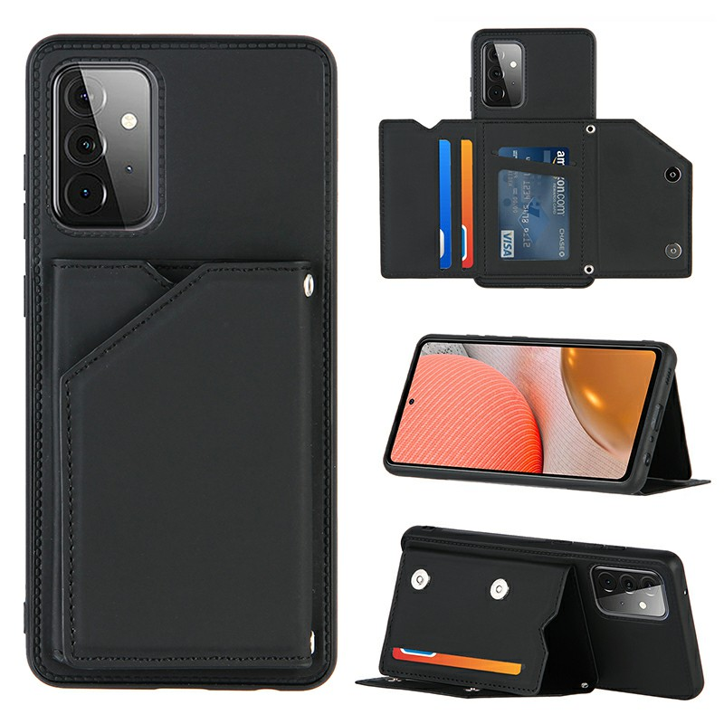 Folio Stand Cover PU Leather Flip Case with Lanyard for Samsung Galaxy A72 5G - Black