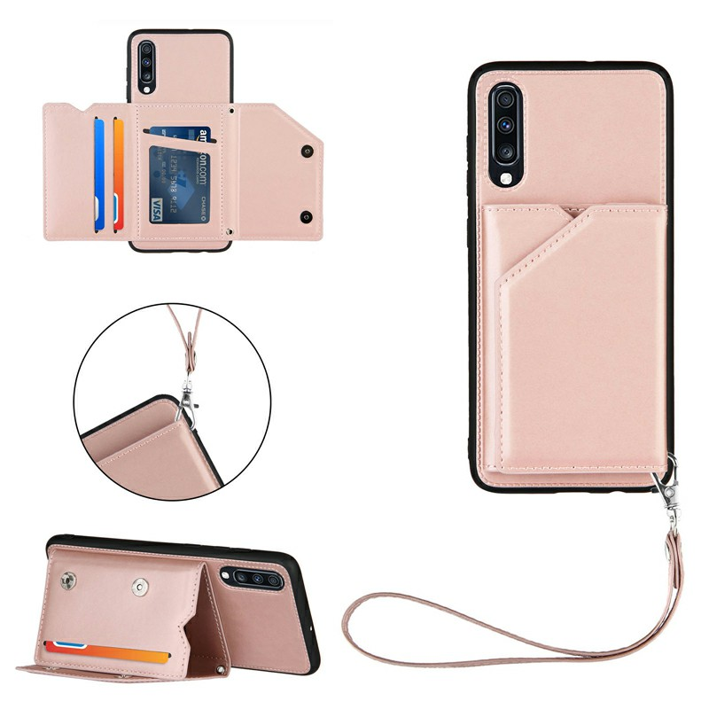 Folio Stand Cover PU Leather Flip Case with Lanyard for Samsung Galaxy A70/A70S - Rose Gold