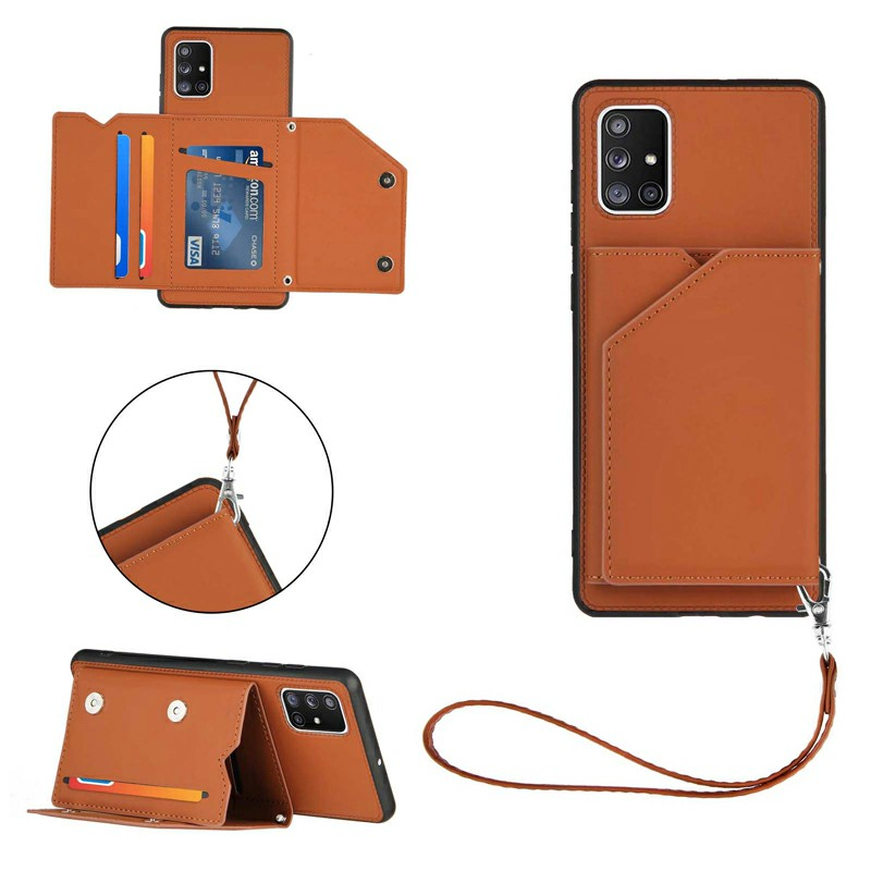 Folio Stand Cover PU Leather Flip Case with Lanyard for Samsung Galaxy A71 - Brown