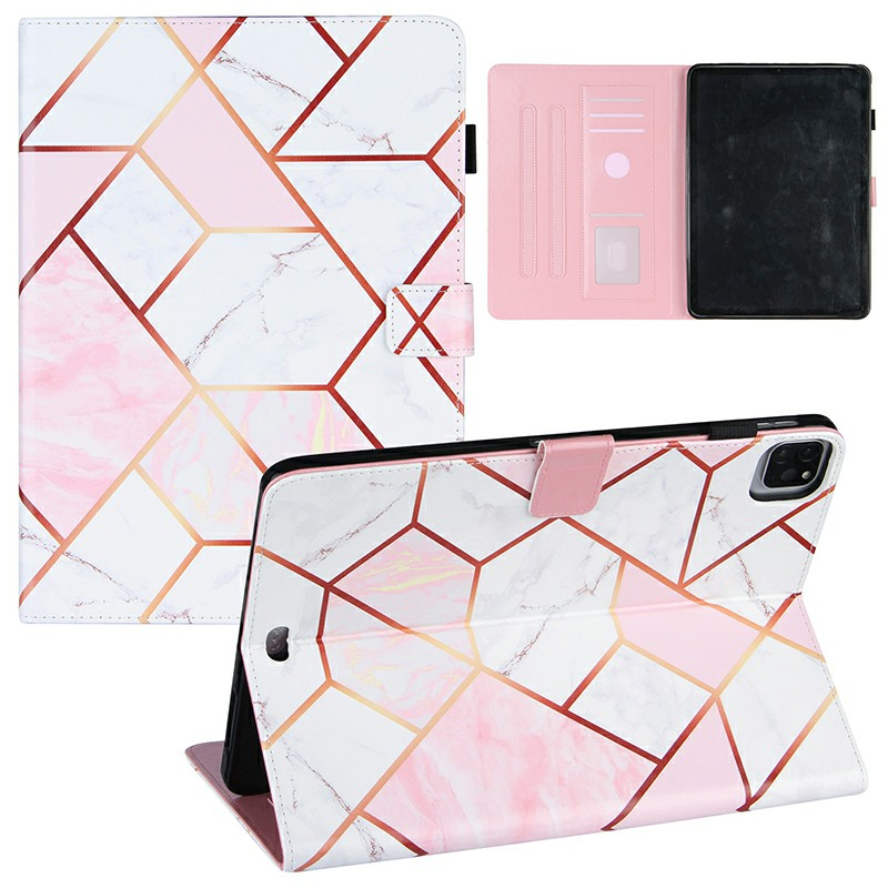 PU Leather Folio Stand Cover Case for iPad Pro 11 inch 2020 2018 and iPad Air 4 10.9 2020 - Pink + White