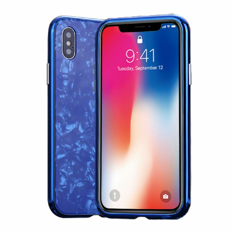 Magnetic Absorption Marble Tempered Glass Case Coverlass Cover Marble iPhone XS - Blue