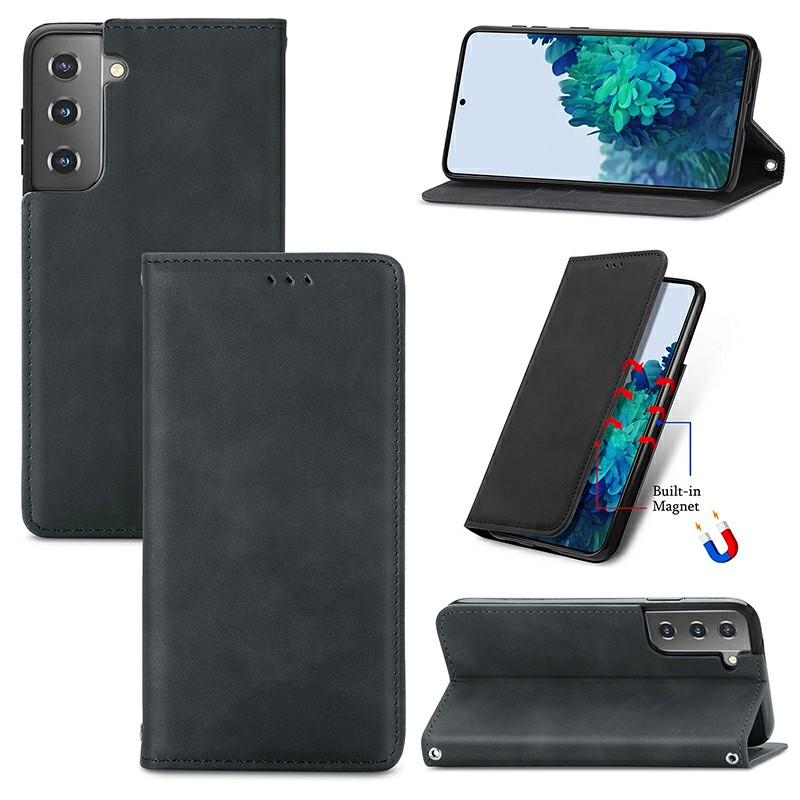 Magnetic PU Leather Wallet Case Cover for Samsung Galaxy S21 - Black