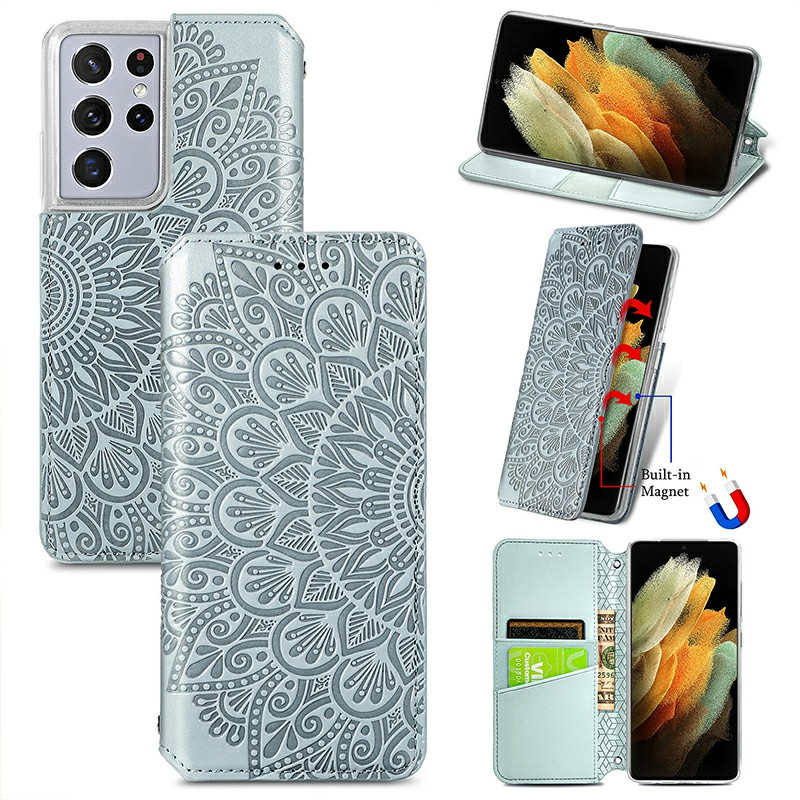 Magnetic PU Leather Wallet Case Cover for Samsung Galaxy S21 Ultra - Grey
