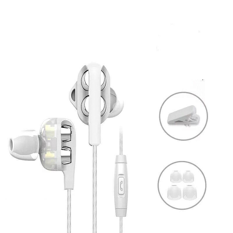 D4 Subwoofer with Microphone In-Ear Earphones - White