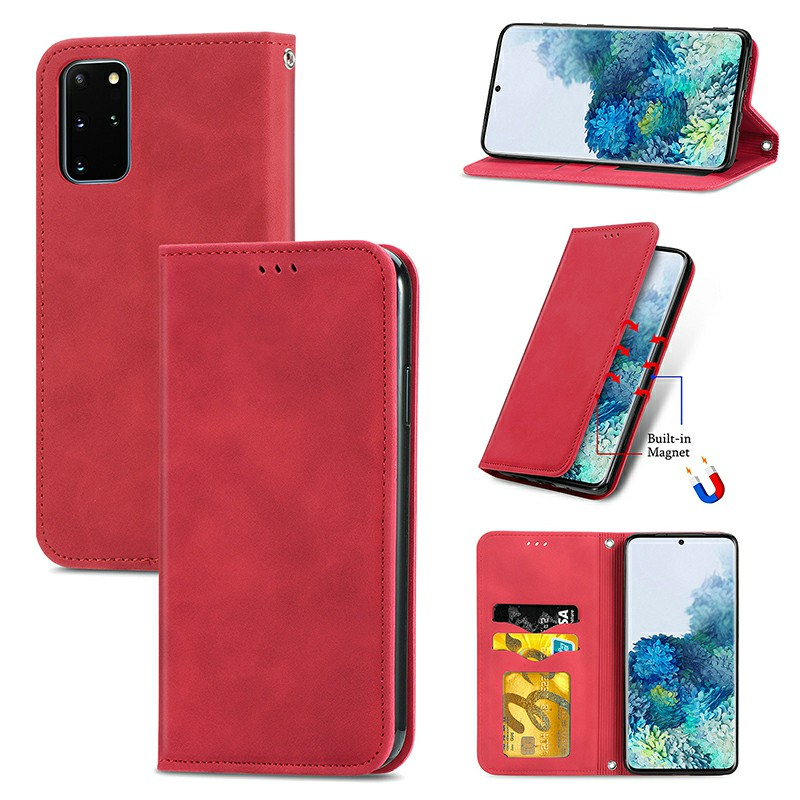 Magnetic PU Leather Wallet Case Cover for Samsung Galaxy S20 Plus - Red