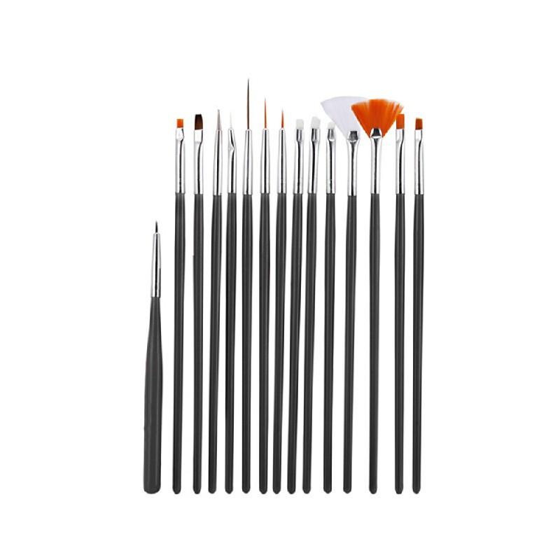 15 pcs Artist Painting Brushes Set Acrylic Oil Watercolour Painting Craft Art - Black