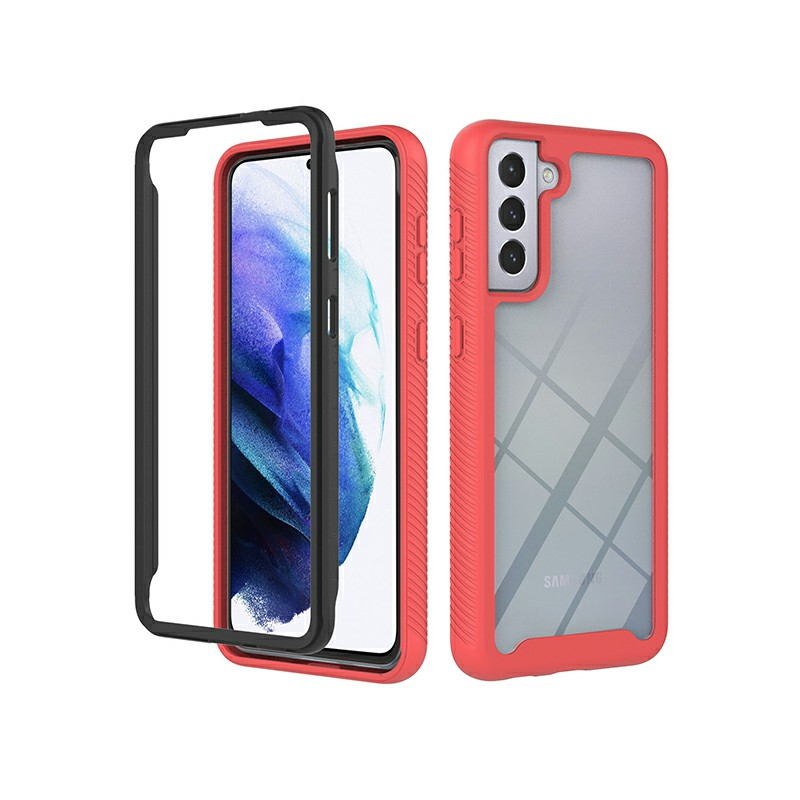 360 Degree Full Body Slim Armor Case with Front Frame for Samsung Galaxy S21 Plus - Red