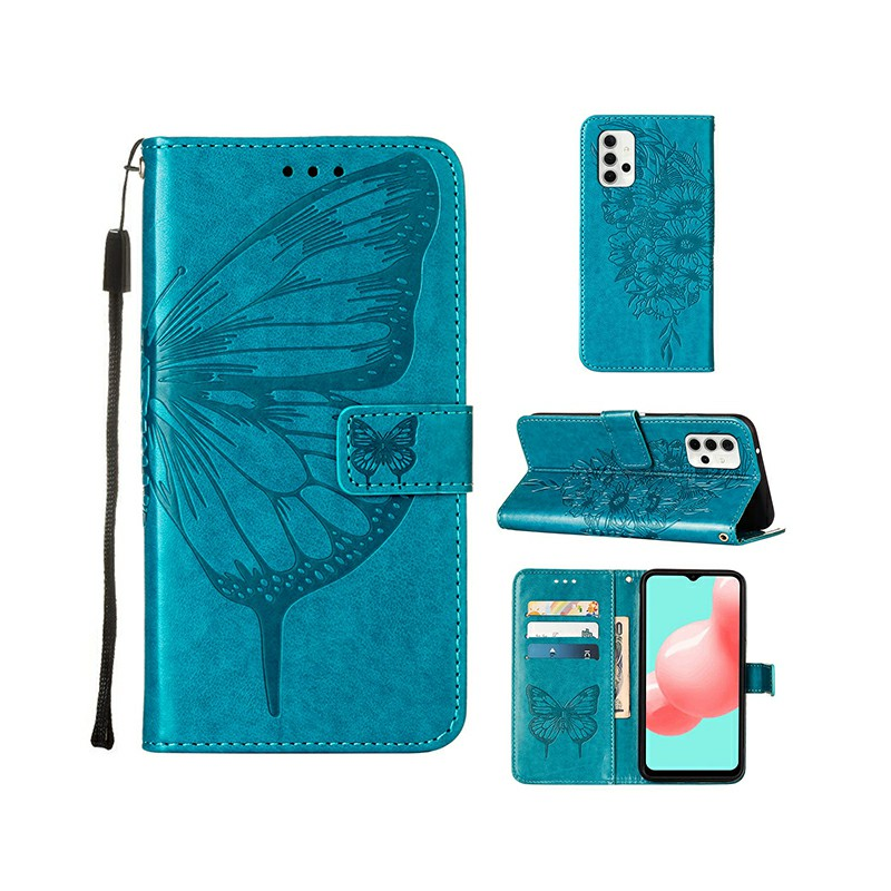 PU Leather Folio Stand Cover Protective Case for Samsung Galaxy A32 5G - Blue