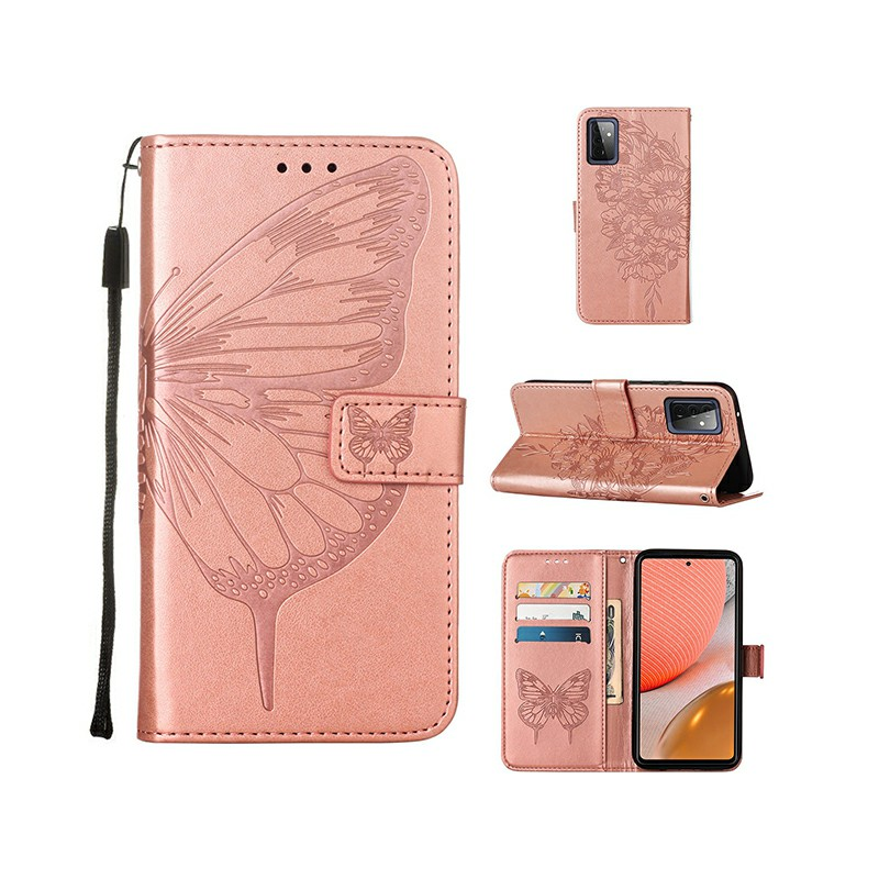 PU Leather Folio Stand Cover Protective Case for Samsung Galaxy A72 4G 5G - Rose Gold