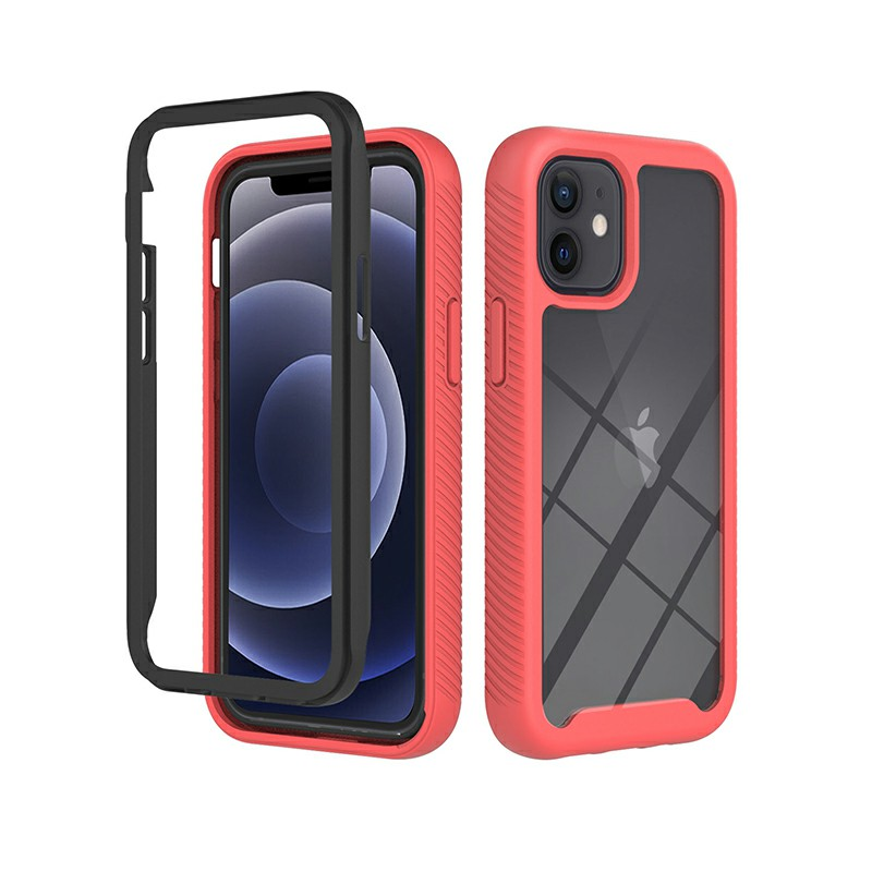 360 Full Body Slim Armor Case with Front Frame for iPhone 12 Mini - Red