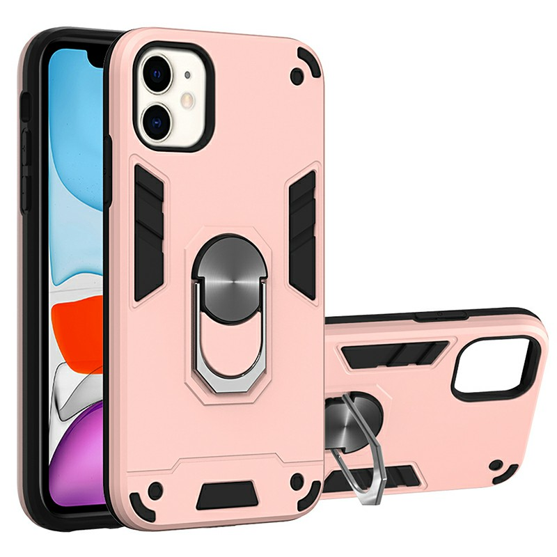 Armor Heavy Duty Dual Layer Ring Shockproof Hard Protective Case for iPhone 11 - Rose Gold.