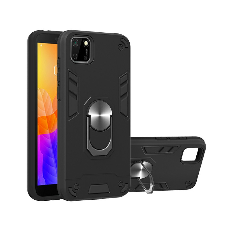 Armor Heavy Duty Dual Layer Ring Shockproof Hard Protective Case for Huawei Y5P 2020 and HONOR 9S - Black