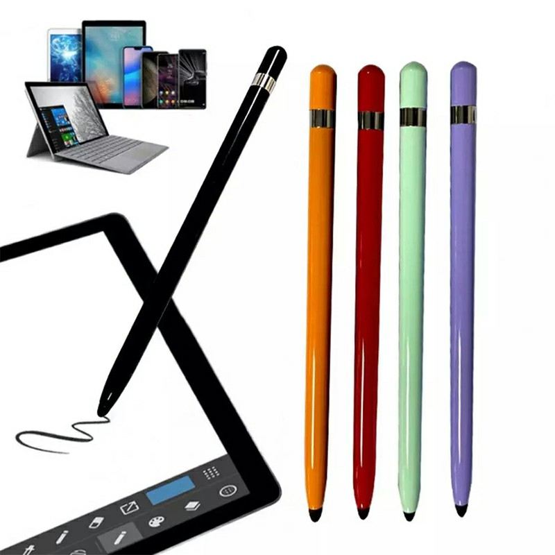 Universal Capacitive Touch Stylus Pen with Protection Cover for iPad iPhone Tablet - White.