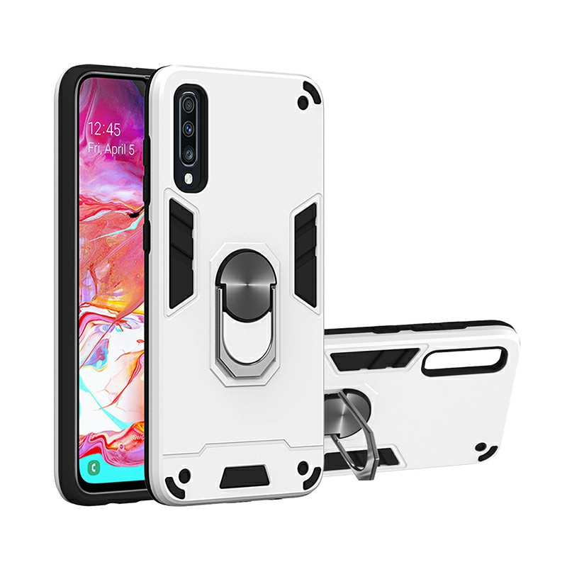 Armor Heavy Duty Dual Layer Ring Shockproof Hard Protective Case for Samsung Galaxy A70/A70S - Silver