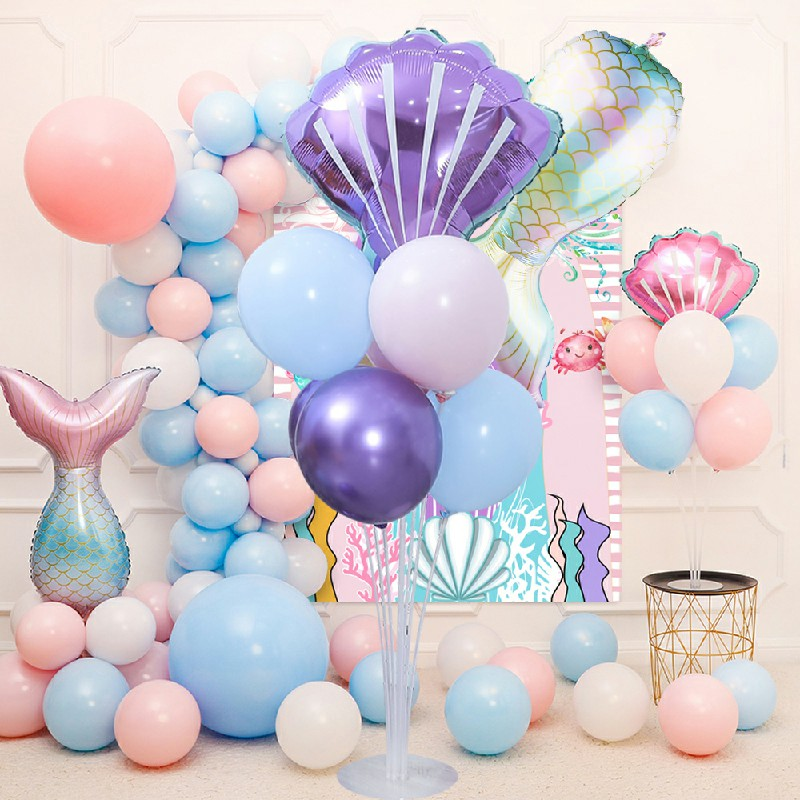 Mermaid Tail Shell Foil Stand Metallic Display Balloons Birthday Party Decor - Road Guide