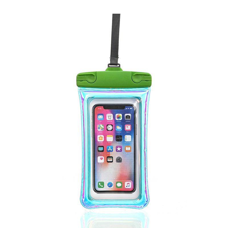 Universal 7.2 inch Waterproof Phone Pouch Glowing Bag - Green
