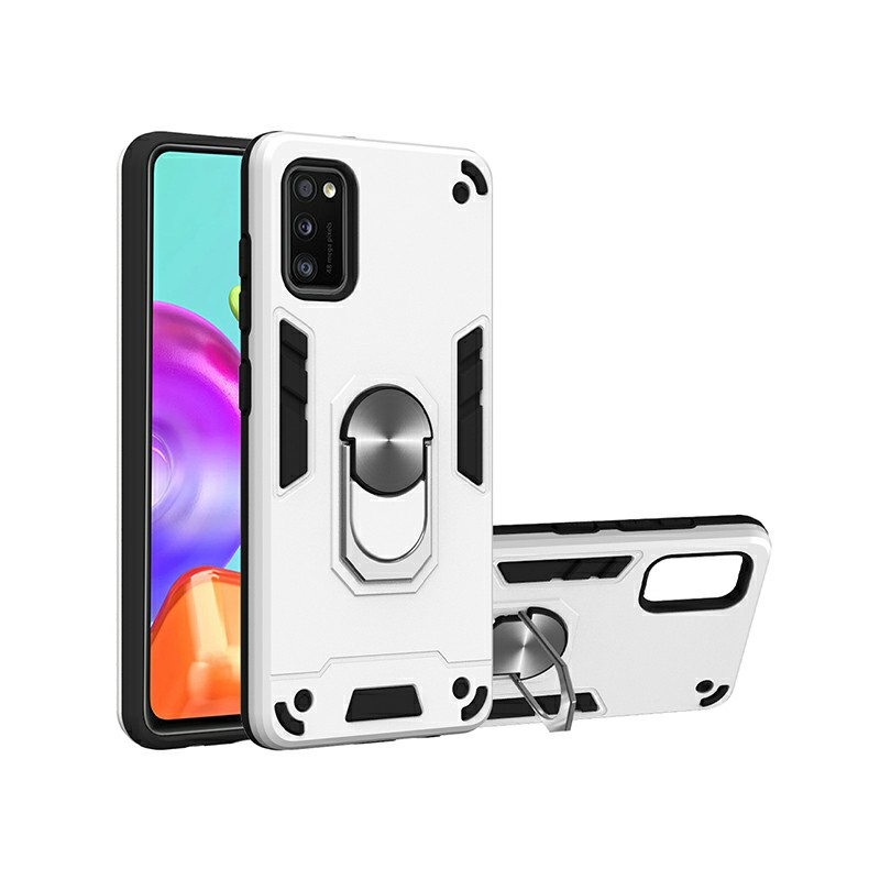 Armor Heavy Duty Dual Layer Ring Shockproof Hard Protective Case for Samsung Galaxy A41 - Silver