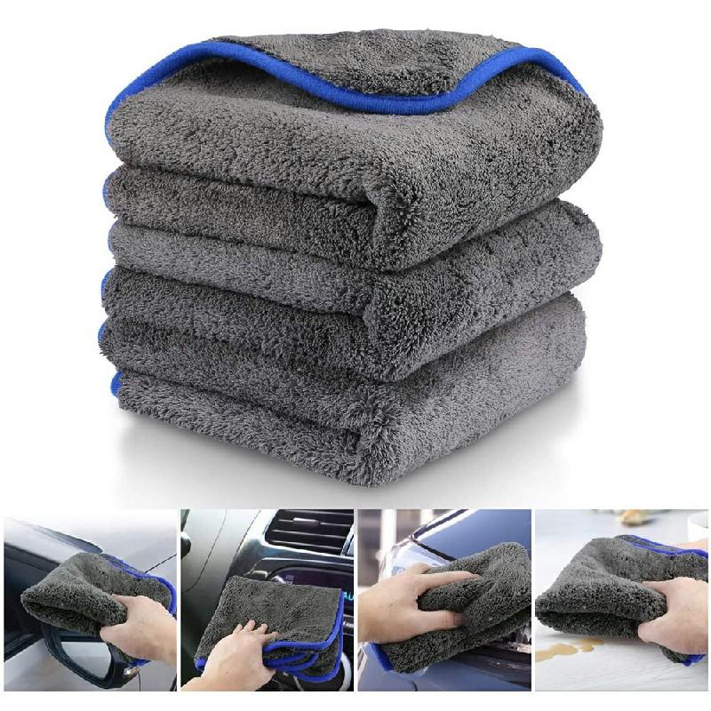 3 pcs Microfiber Car Detailing Towels Car Cleaning Drying Washing Cloths 1200gsm - Blue Edge.