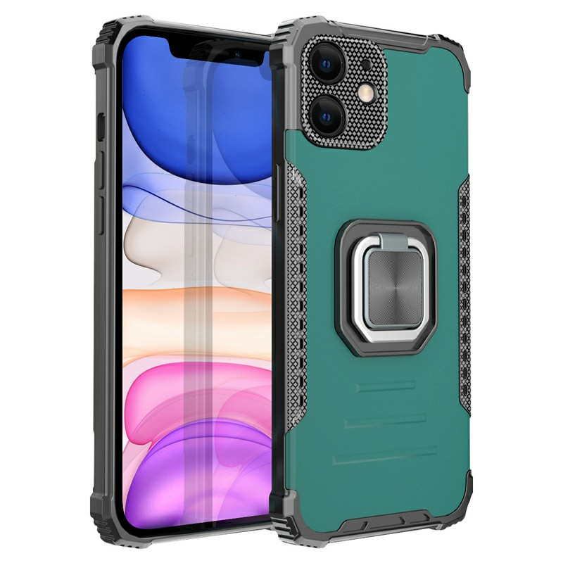 Shockproof Heavy Duty Rugged Armor TPU + PC Protective Back Case for iPhone 11 - Green