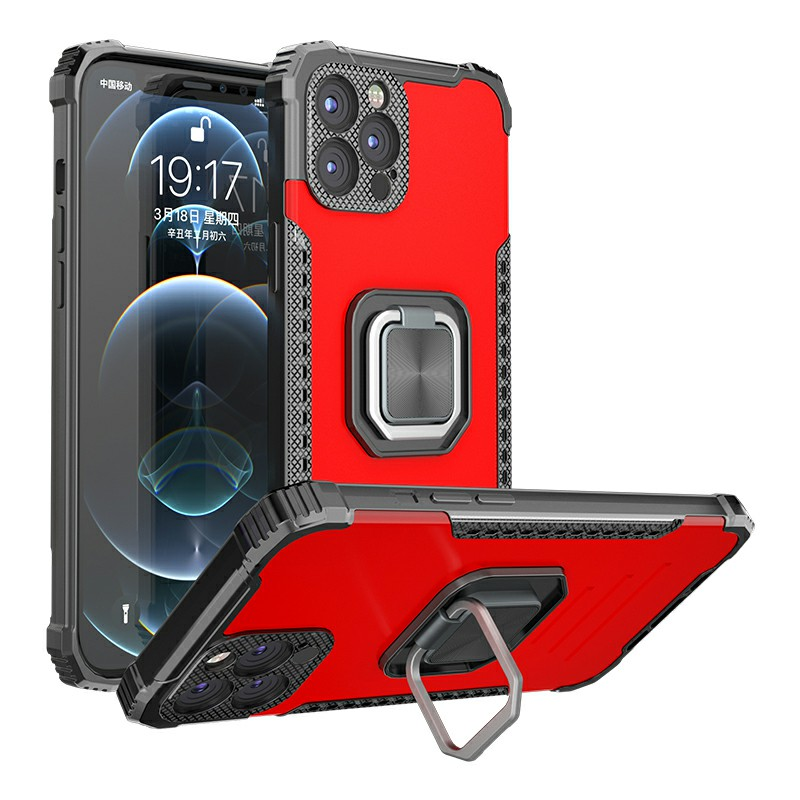 Rugged Armor TPU + PC Combination Case for iPhone 11 Pro Max - Red