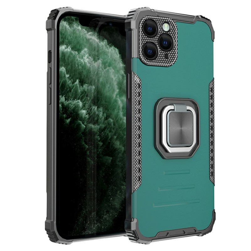 Heavy Duty Rugged Armor TPU + PC Combination Case for iPhone 12 Pro - Green