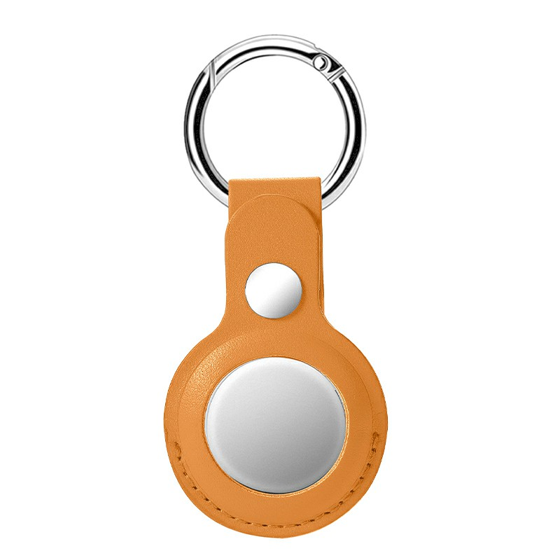 PU Leather Tracker Holder with Key Chain Portable Protector Case for Airtags - Khaki