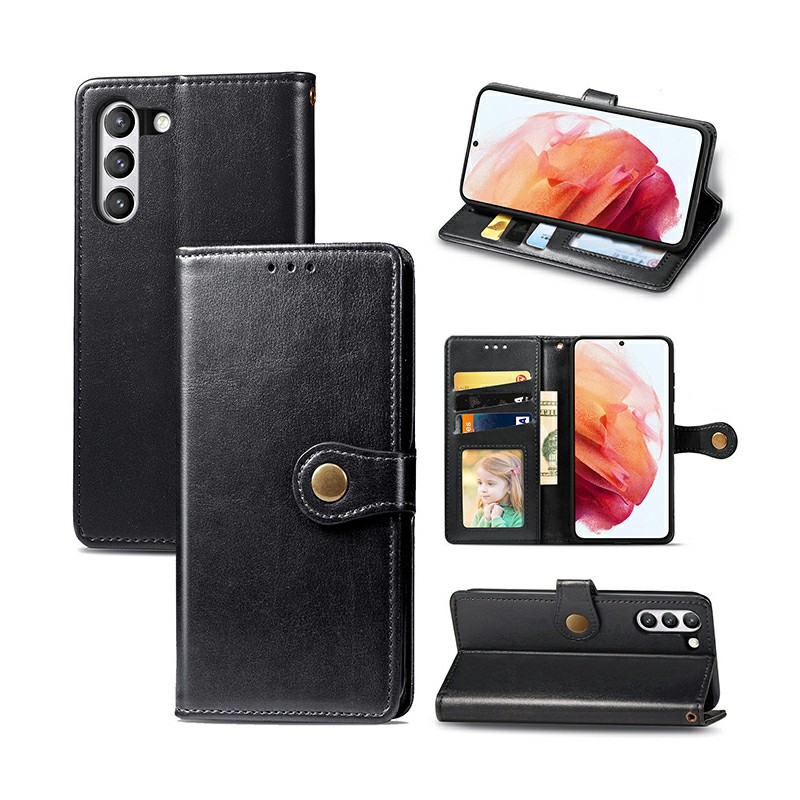 Magnetic PU Leather Wallet Case Protective Cover for Samsung Galaxy S21 FE - Black