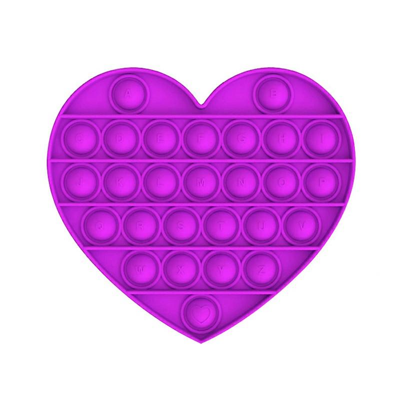 Love Heart Pop it Fidget a Loud Side and a Quiet Side to Pop - Purple