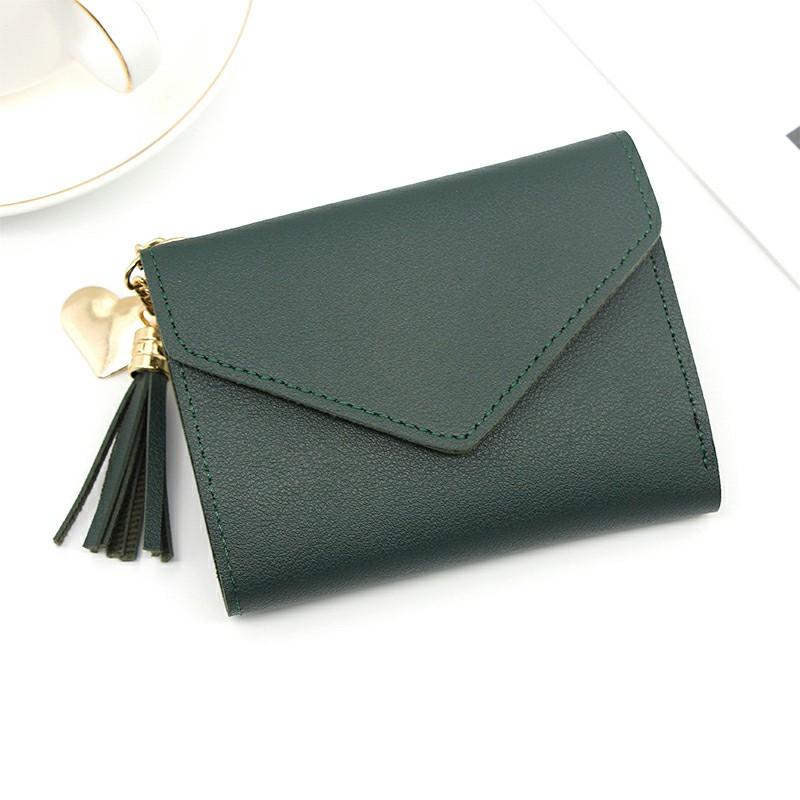 Women Girls Short Small Leather Wallet Folding Coin Card Holder - Green
