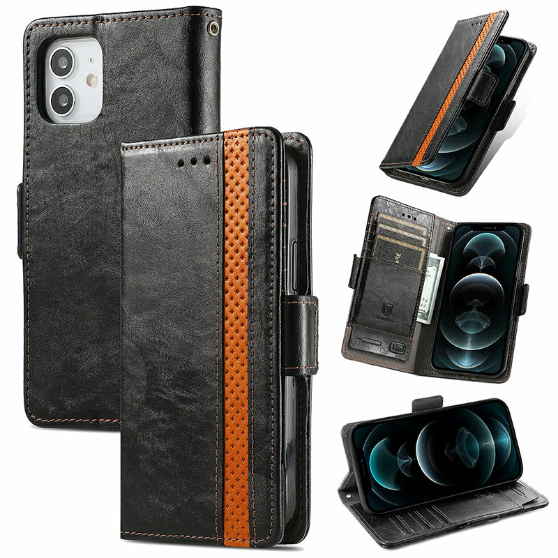 Magnetic PU Leather Flip Stand Card Phone Case for iPhone 12 Mini - Black