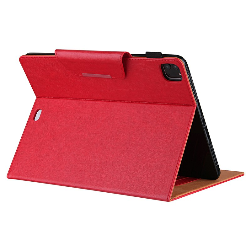 PU Leather Case Flip Stand Protective Cover for iPad Pro 12.9 2021 2020 2018 - Red