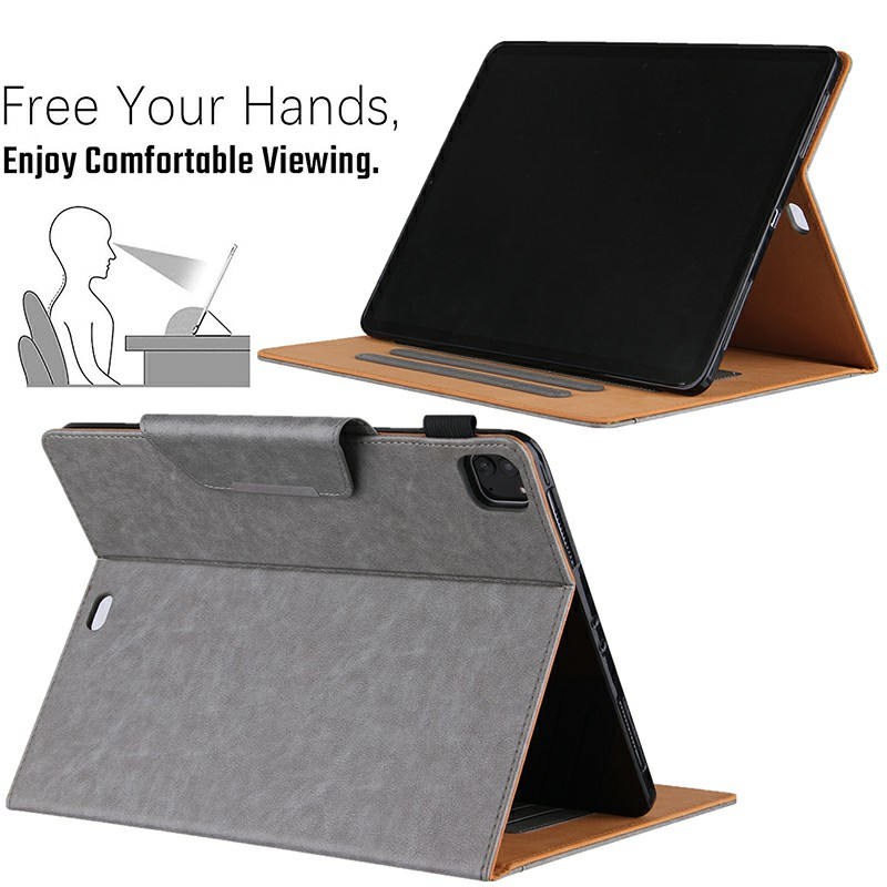 PU Leather Case Flip Stand Protective Cover for iPad Pro 12.9 2021 2020 2018 - Grey