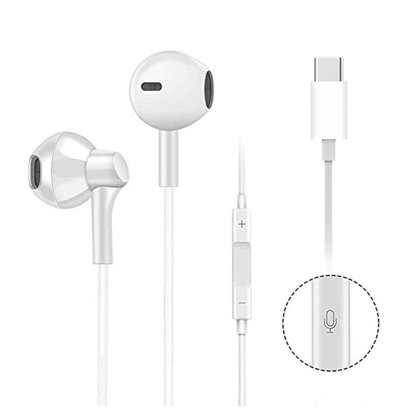 USB C Digital Earbuds with Microphone Noise Cancelling HiFi Stereo Headphones - White
