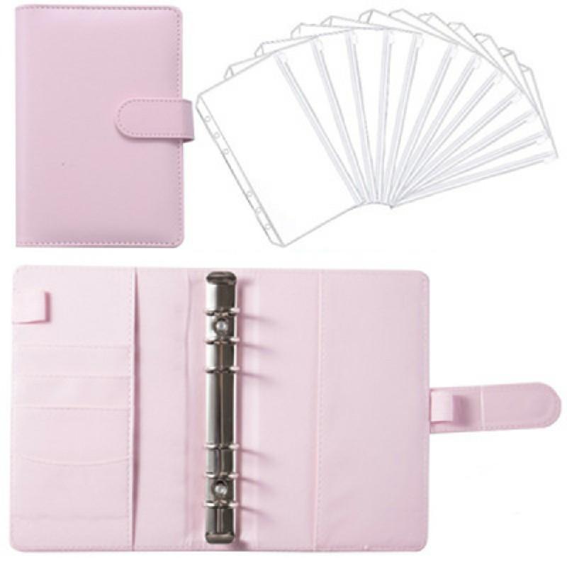 A6 PU Leather Notebook Binder Budget Planner Organizer Cover Pockets - Pink