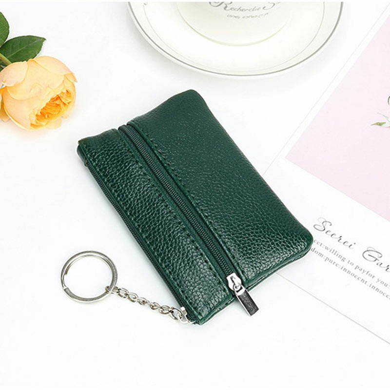 2 Zippered Leather Small Coin Card Key Ring Wallet Pouch Purse - Green