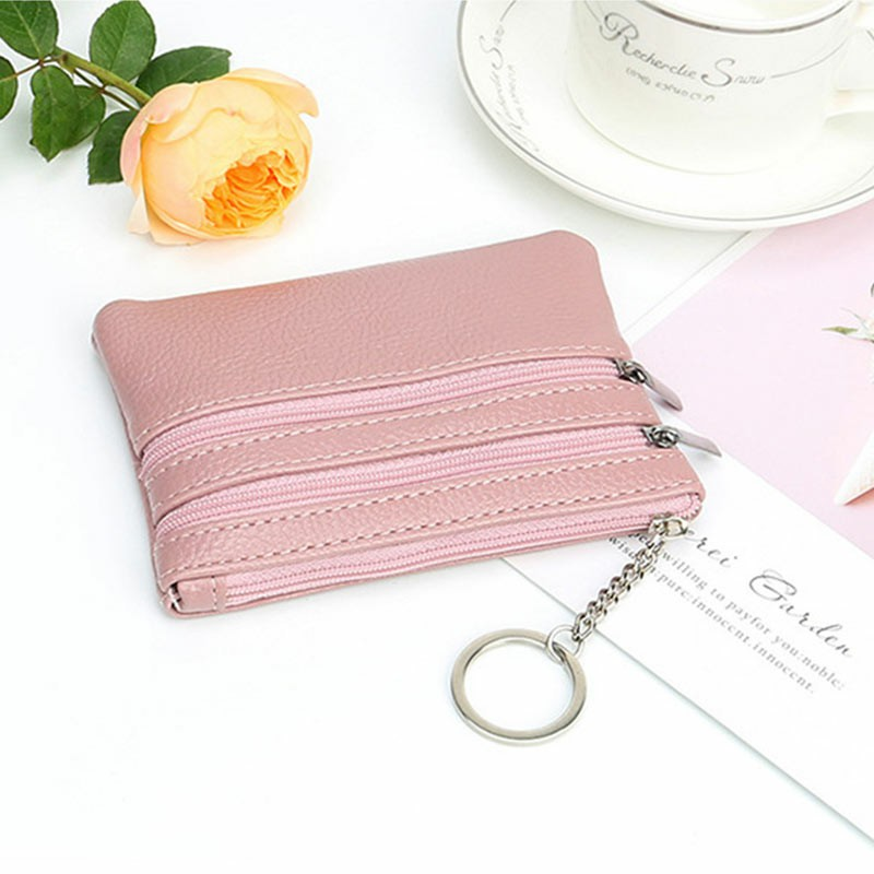 Leather Small Coin Card Key Ring Wallet Pouch Purse - Pink