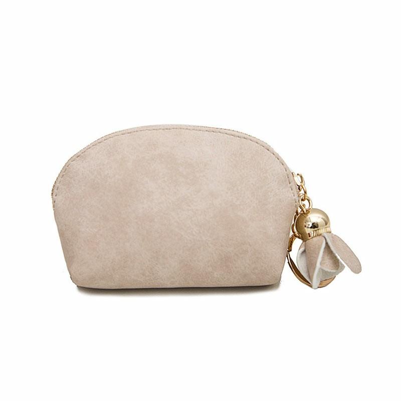 Women Ladies Leather Small Mini Wallet Card Key Holder Zip Coin Purse Clutch Bag - Beige